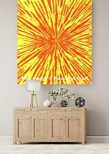 Indian Wall Hanging Tapestry Abstract Tie Dye Printed Table Cover Yellow Poster