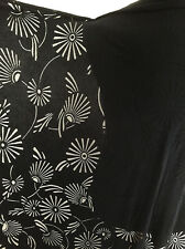 Printed Black Abstract Floral Design on Polyester/Viscose Devore Jersey Fabric
