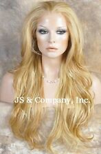 Heat Safe FRENCH LACE FRONT WIG Extra Long Natural Wavy Butterscotch A8 BS