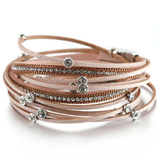 Fashion Women Multilayer Leather Crystal Beads Charm Cuff Bracelet Jewelry Gift