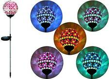 Solar Pink Glass Ball Garden Stake Outdoor Yard Lawn Color Changing LED Light