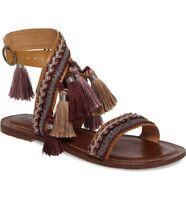 Topshop FIJI Fringe Leather Flat Sandals SIZE UK4 EUR37 US6.5