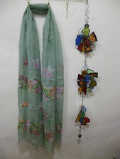 """Etnika Mint Green Embroidered Flowers Scarf Accessory 70"""" Long 20"""" Wide Linen"""