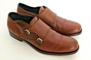 Prada Milano 1865 Mens Vintage Brown Double Monk Shoes US Size 8  EU 40.5 UK 7