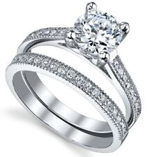 .925 Sterling Silver Wedding Ring Set CZ Round Cut Engagement Size 4 New w78