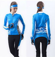 Blue Cycling Clothing Bike Bicycle Long Sleeve Jersey&Pant Sets Polyester S-XL