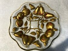 "Antique Goofus Glass Scalloped Red Gold Cherries/Pears Saucer 6"" Plate"