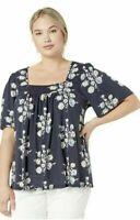 NWT Lucky Brand Women's Square Neck Floral Shirt | Navy Blue | Medium