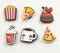 6 New Crocs Shoe Charms Jibbitz Emoji Fast Food Burger Pizza Popcorn Fast Ship 8