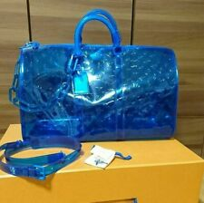 Louis Vuitton Keepall Bandouliere 50 Transparent embossed Monogram PVC Blue