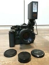 Canon F1 + Power Winder F + Speedlite 133D + Flash Coupler L + FD-Objektive