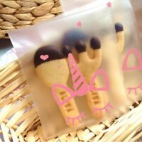 100Pcs Cute Unicorn Candy Plastic Cookie Bags Self Adhesive Birthday Party Gift