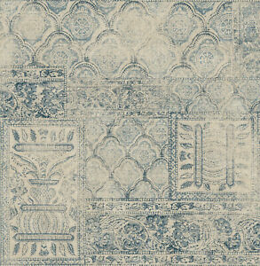 """Navy and Ivory Moroccan Tile Print Wallpaper Bolt - 20.5"""" x 396"""" Roll (56 sq ft)"""