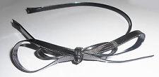 Serre-tête fin double noeud papillon couleur noir et argenté ST0125A