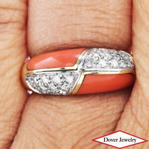 Estate Diamond Coral 18K Gold Cluster Ring 5.7 Grams NR