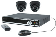 KIT VIDEO SURVEILLANCE SECURITE DVR 2 CAMERA DOMES + CABLES + DISQUE DUR 500Go
