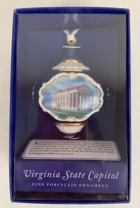 Virginia State Capitol Porcelain Christmas Ornament 2006, New Open Box