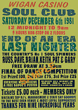 Northern Soul - Rare 'Wigan Casino' 'End of an era' Last Nighter Poster Repro