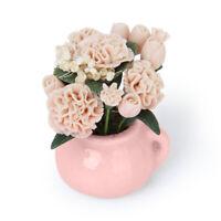 Fleur Oeillet Plante Pot Céramique Décor pr Poupée Maison 1:12 Dollhouse