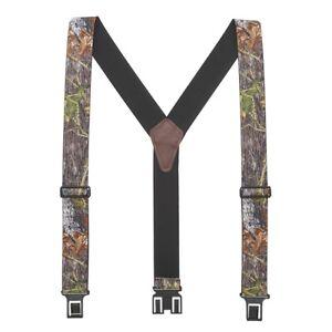 New Perry Mens Elastic Hook End Mossy Oak Camouflage Suspenders (Reg & Tall)