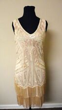 BABEYOND NWT Beige Polyester Sequined Beaded Fringe Trim Cocktail Dress M GG9229
