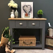 Grey Painted Console Table Oak Solid Wood Telephone Table / Dark Grey Haywood
