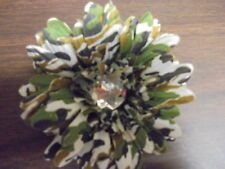 "Beautiful 4"" Camo Flower Bow Hair Clip Accessories Center Large  Rhinestone"