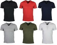Jack & Jones V-Neck T-Shirt Short Sleeve Casual Gym Plain in 6 Colours S TO 2XL