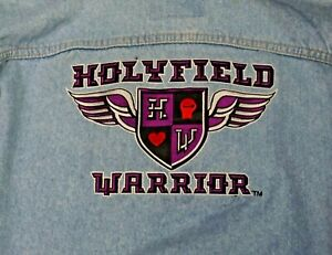Rare Authentic Team Holyfield Three Rivers Denim Jacket Trainer Owned - XL