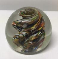 Vintage Orb Rainbow Swirl Tornado Glass Art Paperweight - Hand Blown - GORGEOUS
