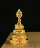 TIBETAN BUDDHA BUDDHISM ALTAR MUST: BLESSED GOLD GILT MANDALA SET SMALL SIZE ! =