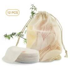 12PCS/Bag Reusable Cosmetic Cotton Pad Bamboo Makeup Remover Pad Cleansing Pads