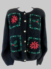 Christmas Cardigan Womens Sweater Med Black Knit Red Poinsettias Holly Ugly?
