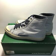 d2e9148c4ee57e 10 brand new from  47.58 · LACOSTE Women s Navy Stripe High Top Logo  Fashion Sneaker Lace Up Shoes US 7.5