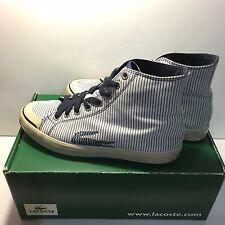 LACOSTE Women's Navy Stripe High Top Logo Fashion Sneaker Lace Up Shoes US 7.5