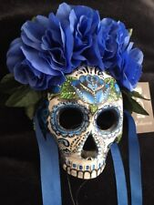 Blue Sugar Skull Half Mask Day Of The Dead Roses Candy Skull Hand painted Gift