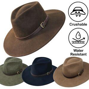 Premium Fedora Felt Hat Australian Cowboy Wide Brim Brimmed Felt Hat Crushable