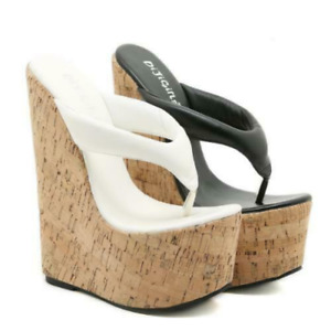 Women's Summer Thong Flip Flops Sandals Wedge High Heels Platform Slippers Comfy