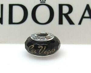 New w/Box Pandora Black w/ GOLD Las Vegas Excl. Murano Glass Bead Charm STUNNING