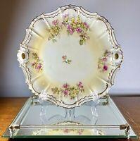 "ATQ c1890 LDBC Flambeau Limoges France Hand Painted Cabinet Plate Roses Gilt 12"""