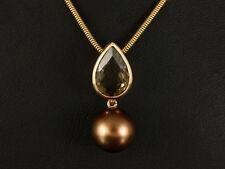 Schönes Rauchquarz Collier mit Perle ca. 3,00ct Schlangenkette 585/- Rotgold