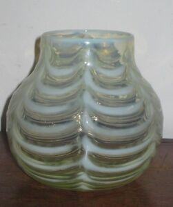 UNUSUAL ENGLISH ARTS & CRAFTS OPALESCENT VASE STRIPY GLASS VASE