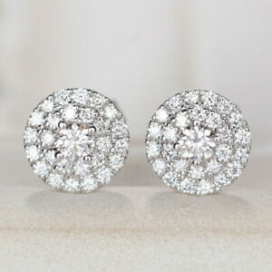 925 Silver Pave CZ Round Stud Earrings for Women Girl