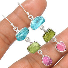 Moldavite & Aquamarine Rough 925 Sterling Silver Earrings Jewelry SE132636