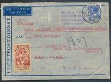 12½ CT.V ETH NR.185 OP LP. ENV. LEIDEN-USA 8.V.1938 VIA PARIJS PAR L'AVION ZL100