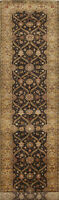 Vegetable Dye Floral Fine Agra Oriental Runner Rug Hand-Knotted Wool 3x14 Carpet