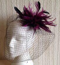 plum feather fascinator black french veiling veil hair clip brooch headpiece