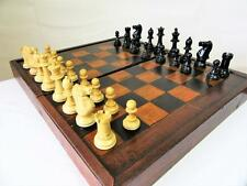 ANTIQUE ENGLISH LARGE CHESS & BACKGAMMON  BOARD STAUNTON PATTERN CHESSMEN K 3.5""