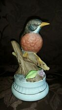 Vintage Robin Bird Music Box Figurine You Light Up My Life SANYO Works EUC