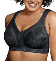 Playtex Women's Plus Size Front-Close Bra with Flex Back, Black, Size 38C gQ4p